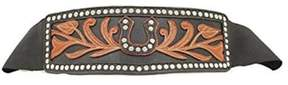Ariat A1514201-L 3 in. Womens Wide Stretch Horseshoe Belt, Black - Large