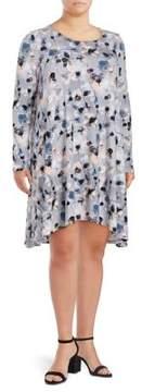 Context Plus Floral Long-Sleeve Shift Dress