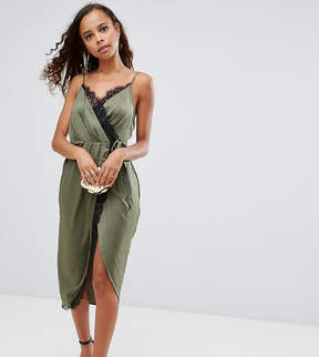 Asos Hammered Satin Lace Trim Cami Sexy Wrap Midi Dress