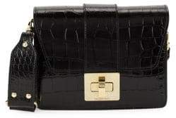 Mario Valentino Benedicte Croc-Embossed Leather Shoulder Bag
