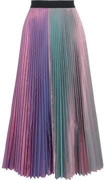 Christopher Kane Iridescent Pleated Silk-blend Taffeta Midi Skirt - Lavender