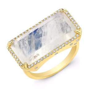 Anne Sisteron Yellow Gold Diamond Base Moonstone Ring