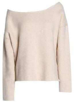 Mother Off-The-Shoulder Mélange Stretch-Cotton Terry Sweatshirt