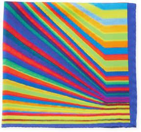 Bugatchi Multicolor Striped Silk Pocket Square