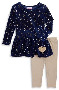 Flapdoodles Little Girl's Two-Piece Velvet Dress and Sparkling Leggings Set