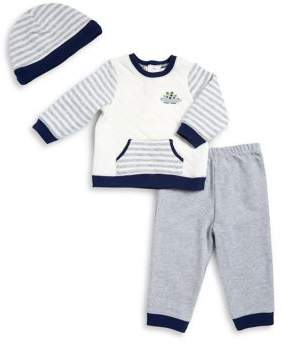 Little Me Baby Boy's Quilted Top Pants and Hat Set