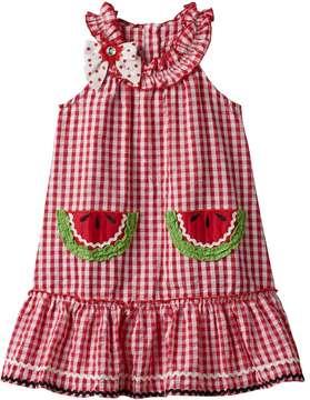Nannette Baby Girl Nanette Seersucker Sleeveless Dress With Applique Detail
