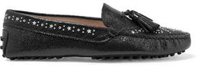 Tod's Gommino Studded Textured-leather Loafers - Black