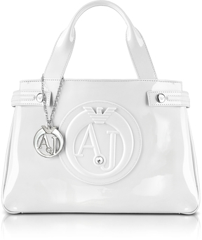 Armani Jeans Medium Optic White Faux Patent Leather Tote