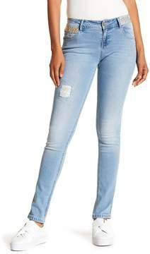 Desigual Embroidered Light Wash Skinny Jeans