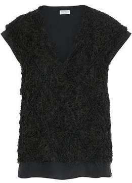 Brunello Cucinelli Layered Open-Knit Linen And Silk-Blend Bouclé And Crepe De Chine Top