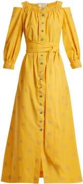 Carolina Herrera Off-the-shoulder fil-coupé cotton-blend dress