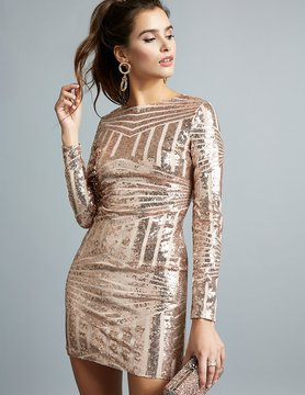 Charlotte Russe Sequins Open-Back Bodycon Dress
