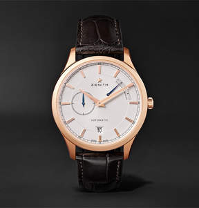 Zenith Power Reserve 40mm 18-Karat Rose Gold Stainless Steel And Alligator Watch