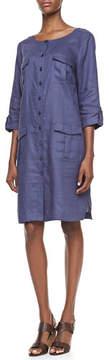 Go Silk Linen Pocket-Front Shirtdress, Petite