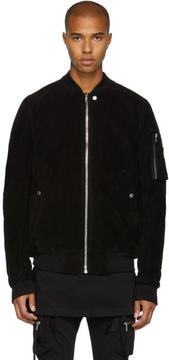 Rick Owens Black Moleskin Flight Bomber Jacket