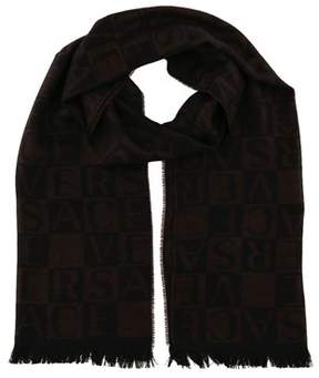 Versace It00643 Marrone Brown 100% Wool Mens Scarf.