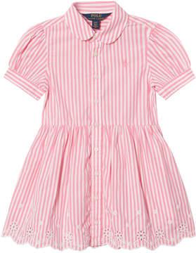 Ralph Lauren Pink and White Bengal Stripe Dress with Eyelet Hem
