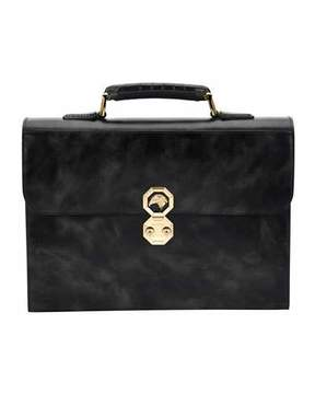 Stefano Ricci Leather Briefcase W/Crocodile Handle, Black