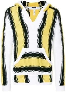 MSGM striped rib knit hoodie