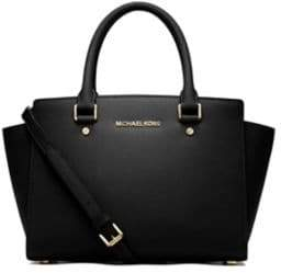 MICHAEL Michael Kors Selma Leather Medium Zip Satchel - BLACK - STYLE