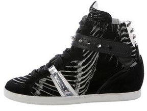 Barbara Bui Embellished Wedge High-Top Sneakers