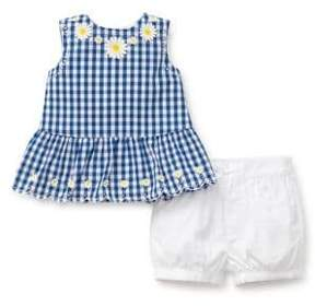 Little Me Baby Girl's Two-Piece Gingham Woven Cotton Top and Shorts Set