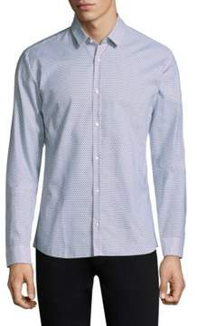 HUGO Tiny Triangle Cotton Button-Down Shirt