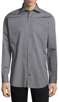 Luciano Barbera Polka Dot Cotton Button-Down Shirt