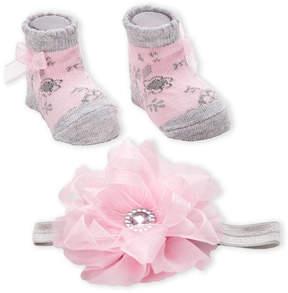 Laura Ashley Newborn/Infant Girls) Flower Headwrap & Sock Set