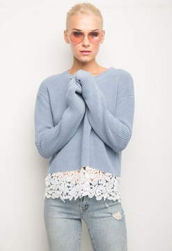 Generation Love Felix Lace Ribbed Sweater