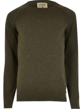 River Island Mens Jack and Jones Vintage khaki green knit sweater