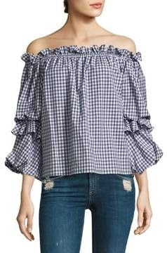 Caroline Constas Gia Checkered Cotton Top
