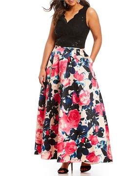 B. Darlin Plus Lace Top with Floral Skirt Two-Piece Ball Gown