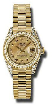 Rolex Lady-Datejust 26 Champagne Decorated Mother Of Pearl Dial 18K Yellow Gold President Automatic Ladies Watch