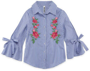 Beautees 3/4 Sleeve Button-Front Woven Top - Girls' 7-16