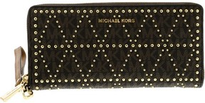 Michael Kors Women's Studded Travel Continental Leather Wallet - Brown