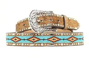 Ariat A1515402-XL 1.5 in. Accessories Womens Beaded Ribbon Belt, Brown - Extra Large