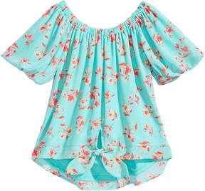 Beautees Floral-Print Tie-Front Top, Big Girls