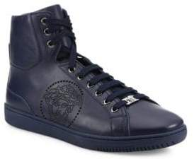 Versace Perforated Medusa Leather Hi-Top Sneakers
