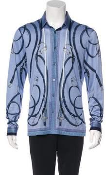 Gucci Horsebit Print Silk-Blend Shirt