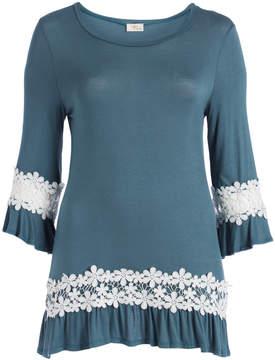 Celeste Periwinkle Floral Lace-Accent Scoop Neck Tunic - Plus