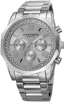 Akribos XXIV Mens Silver Tone Strap Watch-A-999ss