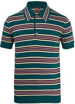 Prada Striped wool-silk knit polo shirt