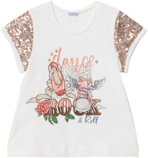Mayoral White Dance Print Sequin Tee