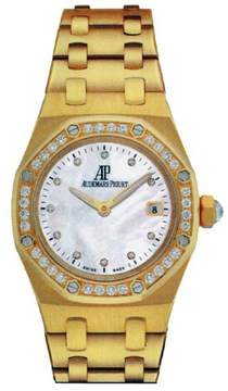 Audemars Piguet Royal Oak Diamond Mother of Pearl Dial Yellow Gold Ladies Watch