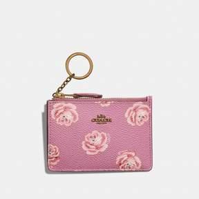 Coach Mini Skinny Id Case With Rose Print