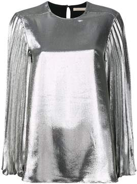 Christopher Kane lamé pleated sleeve blouse
