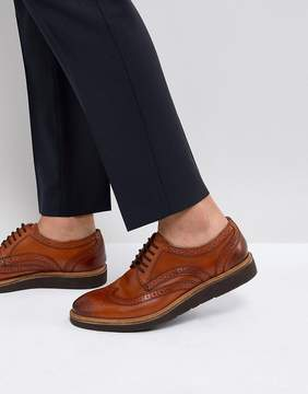 Base London Orion Hi Shine Brogue Shoes in Tan
