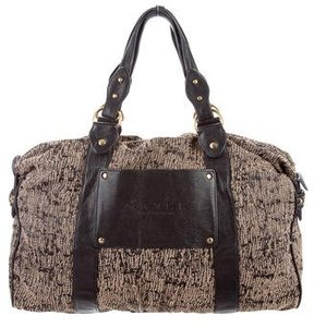 Mayle Leather-Trimmed Woven Tote